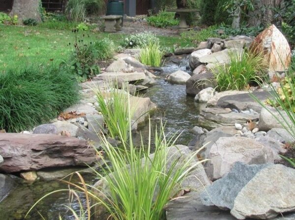 Beautiful pond stream in need of leak check